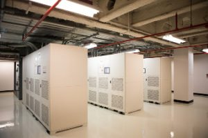 Inside Netrality data center at 210 N Tucker St. Louis cage cabinet solutions